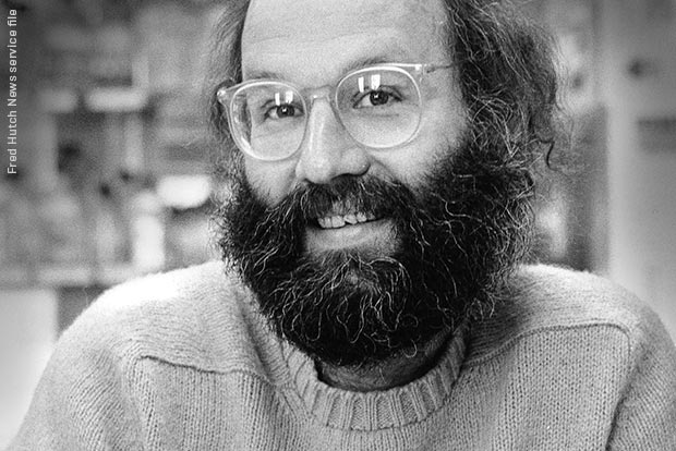 "The late Dr. Harold ""Hal"" Weintraub in his Fred Hutch lab"