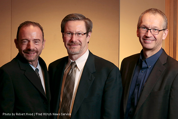 Dr. Gero Hütter, Timothy Ray Brown and Fred Hutch researchers Drs. Keith Jerome and Hans-Peter Kiem