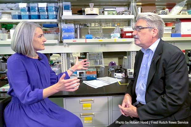Washington STEM CEO Caroline King and Fred Hutch President and Director Dr. Gary Gilliland recently discuss STEM education in a Hutch training lab