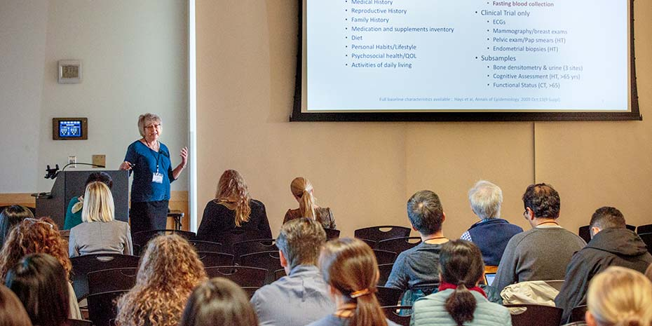 Fred Hutch's Dr. Garnet Anderson speaks at the 2017 Seattle Translational Tumor Research (STTR) Precision Medicine Retreat at the Mercer Island Community and Events Center, near Seattle, Washington on October 12, 2017.