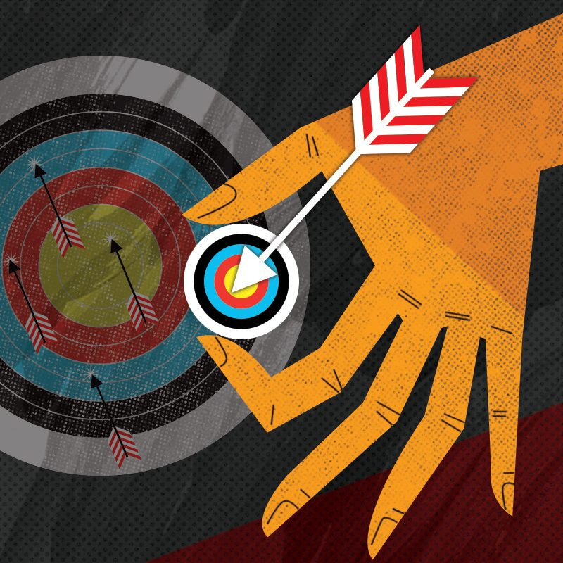 graphic illustration of an arrow hitting a very small target, held by a person's hand over the backdrop of a large target with numerous arrows in it