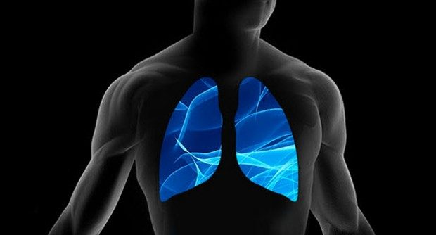 Illustration of the human body with the lungs outlined in blue