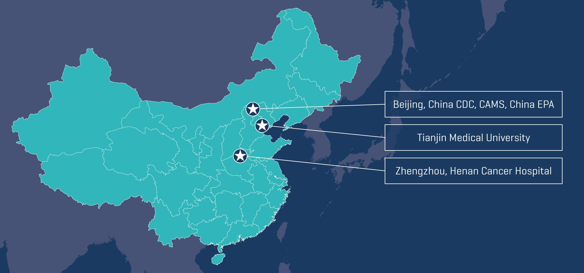 Map of China showing the locations of collaboration