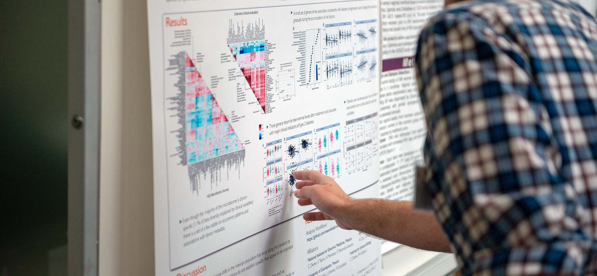 A poster board session at the 2018 Microbiome Symposium at the Fred Hutchinson Cancer Research Center