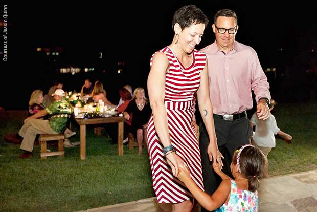 Leukemia survivor Jessie Quinn, shown dancing at a wedding with her daughter and husband