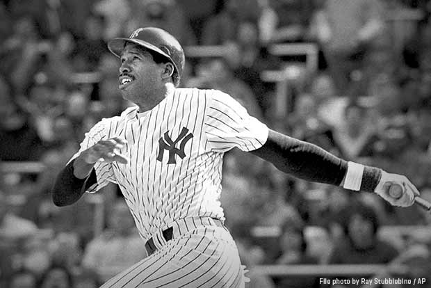 Hall-of-Famer Dave Winfield shown batting for the New York Yankees