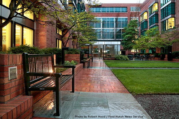 A bench in Fred Hutch's Mundie courtyard dedicated in honor of a former transplant patient