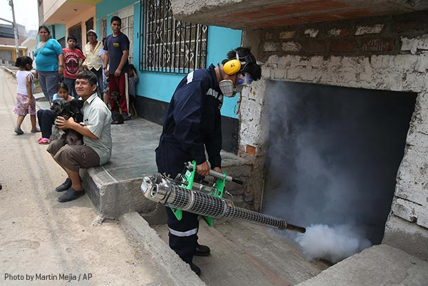 Mosquito spraying in Peru