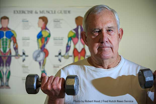 "Prostate Cancer Active Lifestyle Study participant Allan ""Gene"" Asay is shown lifting weights in the Prevention Center at Fred Hutch"