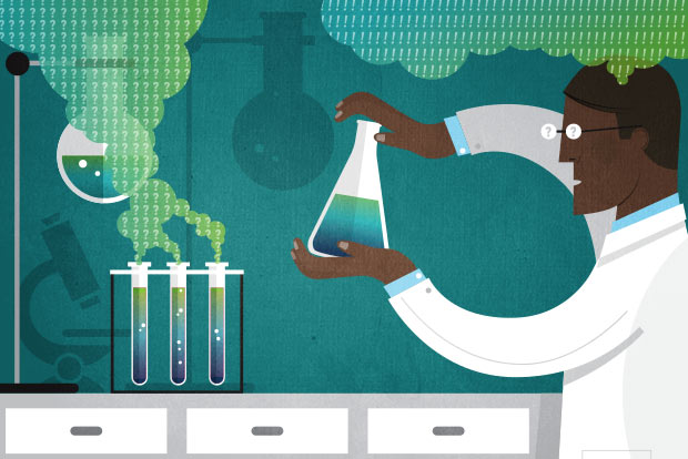 Illustration of a scientist holding a beaker, in front of a lab bench with test tubes with a cloud of question marks coming out.