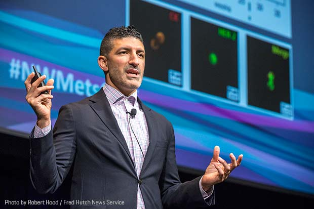 Photo of Dr. Cyrus Ghajar speaking at the Northwest Metastatic Breast Cancer Conference in Seattle