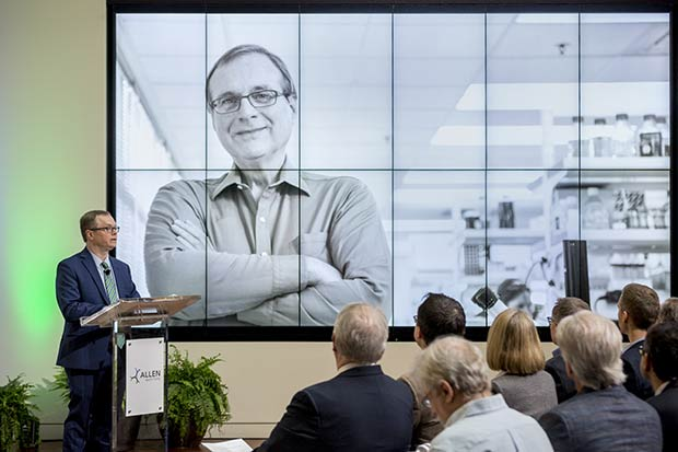 Allan Jones, president and CEO of the Allen Institute, speaks about the opening of the Allen Institute for Immunology at a press conference today in Seattle.